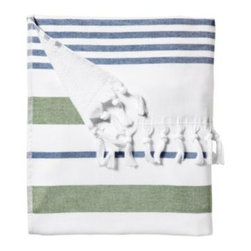 Serena & Lily - Fouta Beach Towel Kelly Green/Navy - Woven in the tradition of fine Turkish towels, our version combines smooth cotton on one side with looped cotton terry on the other for added wicking. The generous size is a luxury; stripes and tassels bring a sense of style to the bath. And it gets loftier and more divine with each wash. At 425 grams, it's just the perfect weight and absorbency for those trips to the beach.