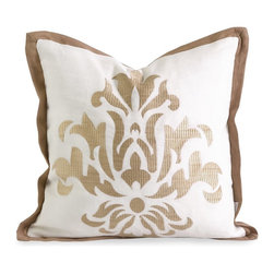 iMax - iMax IK Kassa Embroidered Pillow with Down Fill X-87124 - Iffat Khan has developed a luxurious collection of down pillows with embroidered details and top of the line fabrics. Iffat's refined aesthetic is evident in her collection which combines clean modern, classic casual and timeless traditional styles with her own creative twist.