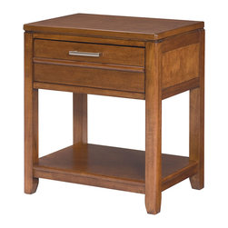 Lea Industries - Lea Keaton 1 Drawer Leg Nightstand in Toffee - Clean lines, uncluttered forms and stylish function are the hallmarks of this fresh new youth collection. Floating tops, soft, rounded moldings and tapered legs create a linear form that will appeal to boys and girls, kids and teens, and of course Moms. Birch veneers and poplar solids are finished in a toffee brown slightly distressed finish. Hardware is linear handle pulls in an aged bronze finish. Abundant storage is provided by deep drawers in the dresser, drawer chest and nightstand, which also features a lower shelf. A rectangular mirror can be used horizontally or vertically over the dresser. Signature pieces include an updated chart desk with pencil drawer and multiple bins for easy organization, and stylish panel beds with applied horizontal bead motif, and available dual function underbed storage unit. - 330-411.  Product features: Clean Lines; Boys or Girls; Birch Veneers & Poplar Solids; Toffee Brown slightly distressed finish; Hardware is linear handle pulls in aged bronze finish. Product includes: Nightstand (1). 1 Drawer Leg Nightstand in Toffee belongs to Keaton Collection by Lea Industries.