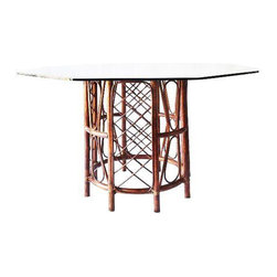 Rattan & Smoke Glass Dining Table - imensions 48.0ʺW × 48.0ʺD × 28.5ʺH