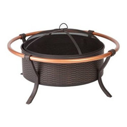"Fire Sense - Fire Sense Copper Rail Fire Pit - This unique fire pit features a 28"" antique bronze painted steel  fire bowl with an attractive weave pattern, and elegant copper finish  outer rails.� This fire pit comes complete with mesh fire screen with  high heat paint, and powder coated legs.� Also included is a screen  lift tool."