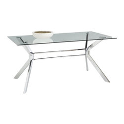Steel and Glass Rectangle Dining Table - Steel and Glass Rectangle Dining Table