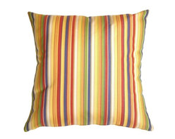 Pillow Decor - Pillow Decor - Sunbrella Castanet Beach Stripes 20 x 20 Outdoor Pillow - Soft stripes in warm sunny summer colors. Castanet Beach is a perfect poolside throw pillow made from sturdy weather resistant fabric from Sunbrella -THE name in outdoor fabrics. These outdoor fabrics are practical and beautiful!
