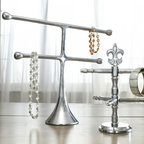 """Contemporary Metal Jewelry / Towel / Accessory Holder 12.5"""" H, Modern Jewelry Or - An attractive way to store your chains, necklaces and other small essentials."""