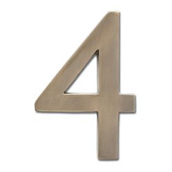 "Architectural Mailboxes - 4"" Floating House Number Antique Brass ""4"" - Your numbers look good. That's because your house numbers are solid brass with a classic antique finish. Best of all, you can attach them to the wall so they appear to float, making them even more handsome."