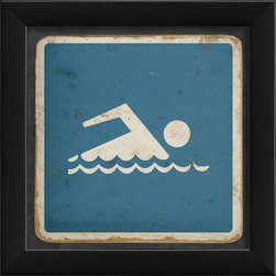 The Artwork Factory - Swimming Sign Framed Artwork - Ready-to-Hang, 100% Made in the USA, museum quality framed artwork