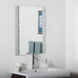 Decor Wonderland - Vanity Bathroom Wall Mirror - 24W x 32H in. Multicolor - SSM5039S - Shop for Bathroom Mirrors from Hayneedle.com! The Vanity Bathroom Wall Mirror - 24W x 32H in. features a clean mirror with a .25-inch bevel atop a second sheet of glass detailed in abstract lines of polished metal. It's an exciting way to surround a traditional rectangular mirror and a sure way to give your bathroom a bold update that won't go unnoticed. Includes mounting hardware for vertical and horizontal mounting.About Decor Wonderland of USDecor Wonderland US sells a variety of living room and bedroom furniture mirrors lamps home office necessities and decorative accessories. Decor Wonderland strives to add variety to their selection so that every home is beautifully and perfectly decorated to suit their customer's unique tastes.