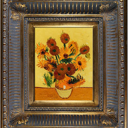 """overstockArt.com - Van Gogh - Vase with Fifteen Sunflowers Oil Painting - Hand painted oil reproduction of a famous Van Gogh painting, Vase with Fifteen Sunflowers. The original masterpiece was created in 1889. Today it has been carefully recreated detail-by-detail, color-by-color to near perfection. Van Gogh created copies of his own work while in St. Remy asylum. The sunflower paintings reminded him of the happy days spent in a yellow house with another artist. By reproducing his own work he balked at the notion of supremacy for the """"one-off"""" and """"never-to-be-repeated"""" original. In fact he repainted his images so that he might retain a copy of what he gave away to friends. Vincent Van Gogh's restless spirit and depressive mental state fired his artistic work with great joy and, sadly, equally great despair. Known as a prolific Post-Impressionist, he produced many paintings that were heavily biographical. This work of art has the same emotions and beauty as the original. Why not grace your home with this reproduced masterpiece? It is sure to bring many admirers!"""