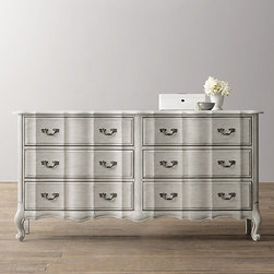 Marais Wide Dresser, Antique Gray Mist - I proposed a French-style dresser like this one from Restoration Hardware for a recent twin girls' room project. I wanted a large and curvy piece with just the right amount of patina.