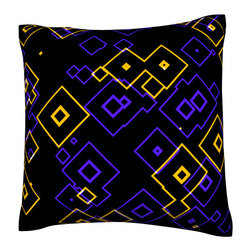 Custom Photo Factory - Graphic Geometric Pattern Polyester Velour Throw Pillow - Graphic Geometric Pattern with Technology Motif Pillow. 18 Inches x 18  Inches.  Made in Los Angeles, CA, Set includes: One (1) pillow. Pattern: Full color dye sublimation art print. Cover closure: Concealed zipper. Cover materials: 100-percent polyester velour. Fill materials: Non-allergenic 100-percent polyester. Pillow shape: Square. Dimensions: 18.45 inches wide x 18.45 inches long. Care instructions: Machine washable