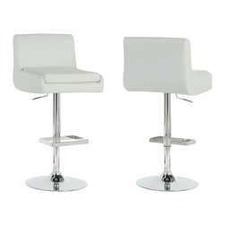 Monarch - Monarch Hydraulic Lift Bar Stool in White and Chrome (Set of 2) - Monarch - Bar Stools - I 2317 - With its alluring and unique shape and sleek leather-look upholstery this 2 piece white bar stool set brings an undeniable sense of style to a practical piece. The metal chrome finish of the steel frame and square shaped foot rest beautifully accentuate any decor. And thanks to an adjustable height and a complete swivel you can customize your seating to your liking.