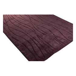 Surya - Wave Acrylic and Wool Hand Loomed Rug in Eggplant - Bring this rich and elegant Acrylic and Wool Hand Loomed Rug will elevate your home decor. Luxurious Eggplant finish will create a desired look to your home. Produced from acrylic and wool and available in 5 colors.Features: