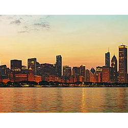 Magic Murals - Chicago Fireworks Panorama Wall Mural -- Self-Adhesive Wallpaper by MagicMurals - This panoramic shot captures the downtown Chicago skyline at dusk just shortly before the sun sets on the Fourth of July.  To the right of the image is the bright red burst of a large ball of fireworks, brightening the sky and reflecting in gold and red off the waters of Lake Michigan.