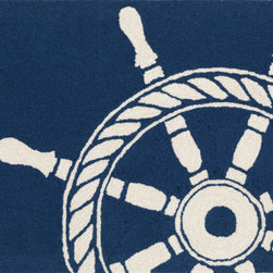 Trans Ocean Import - Frontporch Ship Wheel Navy Rectangular: 5 Ft. x 7 Ft. 6 In. Indoor/Outdoor Rug - - This group of whimsical rugs is sure to liven up any indoor or outdoor space. Lightweight loosely tufted Indoor Outdoor rugs. UV stabilized to resist fading.   - Pile Height: 0. 38-Inches   - Backing Material: Natural Latex   - Cleaning and Care: Vacuum Regularly. Do not use beater brush if long ends appear do not pull. This is not a defect. It is a normal occurrence in hand tufted rugs and is easily remedied using scissors to trim the sprouted section even with the rug. Sponge spots clean   - Will be delivered in first quality and guaranteed for a year under normal wear. Trans Ocean Import - FTP57145633