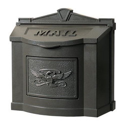 Traditional Wall-Mount Mailbox - The elegance of this wall mount mailbox is evident in its classic design, matching accent plate, and traditional MAIL inscription on the lid. Made from cast aluminum, this mailbox features a lid that can stay open in the upright position and closes softly on pads for quiet operation.