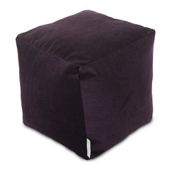 Majestic Home Goods - Villa Aubergine Small Cube - Add style and color to your living room or bedroom with Majestic Home Goods new Villa collection. This cube is perfect for use as a footstool, side table or as extra seating for guests. Woven from 100% polyester Micro-velvet, these cube ottomans are durable yet comfortable. The beanbags are eco-friendly and feature a zippered slipcover. Spot clean slipcover with mild detergent and hang dry. Do not wash insert.