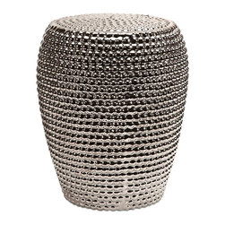Wright Metallic Ceramic Garden Stool - *The beautiful ceramic Wright Metallic Garden Stool adds a touch of functional glamour to any setting. Whether you use it as an accent table or extra seat, it will surely inspire your decor.