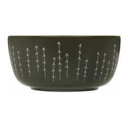 Iittala - Sarjaton Bowl Metsa Mud - Things are definitely looking up at your dinner table. This arrow-patterned bowl has rustic style and a generous shape that assures family and friends something delicious is inside.
