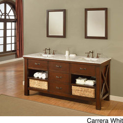 Direct Vanity Sink - 70-inch Espresso Extraordinary Spa Double Vanity Sink Cabinet - Upgrade your bathroom decor with this double-sink vanity cabinet. This 70-inch cabinet features four roomy drawers and a dove-tailed drawer box. Constructed from solid wood, this stylish piece is also available with three marble-top options.