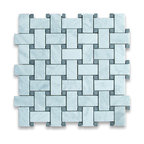 """Stone Center Corp - Carrara Marble Basketweave Mosaic Tile Black Dots 1x2 Honed - Carrara white marble 1"""" x 2"""" rectangle pieces and Nero Marquina 3/8"""" dots mounted on 12"""" x 12"""" sturdy mesh tile sheet"""