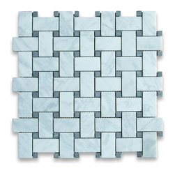 "Stone Center Corp - Carrara Marble Basketweave Mosaic Tile Black Dots 1x2 Honed - Carrara white marble 1"" x 2"" rectangle pieces and Nero Marquina 3/8"" dots mounted on 12"" x 12"" sturdy mesh tile sheet"