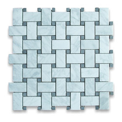 "Stone Center Corp - Carrara Marble Basketweave Mosaic Tile Black Dots 1x2 Honed - Carrara White Marble 1x2"" rectangle pieces and Nero Marquina 3/8"" dots mounted on 12x12"" sturdy mesh tile sheet"