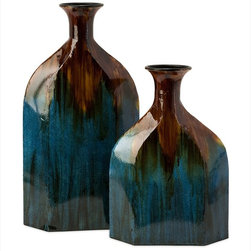 "Imax Worldwide Home - Blaze Blue Drip Bottles - Set of 2 - Set of two rustic style metal bottles with a blue and copper drip finish.; Country of Origin: China; Weight: 2.24 lbs; Dimensions: 16.5-22.5""h x 11.5-12""w x 4.5-5""d"