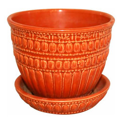 McCoy Flower Pot - Cute pumpkin colors McCoy pot with attached saucer.  Excellent condition with no chips, cracks or crazing.