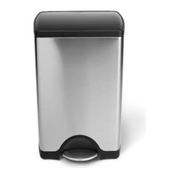 "simplehuman - Simple Human Trash Cans - Nobody wants to worry about how their trash can looks. This simplehuman trash can allows you to quickly clean any mess or spill placed on it. This trash can is ideal for snug placement against a flat edge or flush against the wall. The ease of the step can makes throwing your trash away hassle-free. Features: -Brushed stainless steel. -Capacity: 10 gallon/ 38 liter. -All-steel pedal is constructed of a single steel beam for superior durability and a high-end aesthetic. -Dent-proof plastic lid is extra durable and easy-to-clean. -Lock back lid for ease during longer chores. -Nonskid base prevents trash can from tipping. -Lid Shox exclusive technology uses air suspension shocks to control the lid for a slow, quiet close. -Smartbucket Bag Change System eliminates messy bag overhang with an easy three-step bag change. -Invisible hinge. -5 year limited warranty. Dimensions: -25.9"" H x 15.7"" W x 13.7"" D, 34.8"" H with lid open, 17.75 lbs."