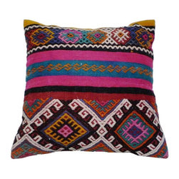 Used Colorful Kilim Floor Cushion - Every Boho babe needs a fun floor cushion!  This one takes the cake.  Gorgeous, colorful vintage fabric makes this large floor cushion an absolute a show stopper.
