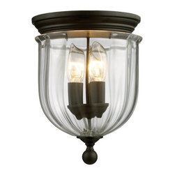 Z-Lite - Z-Lite 140F 3 Light Flush Mount Ceiling Fixture with Glass Urn Shade from the Wa - Z-Lite 140F 3 Light Flush Mount Ceiling Fixture with Glass Urn Shade from the Warwick CollectionThe stately Warwick family adds exquisite charm to your space. The sculpted circular glass shades are suspended from a circular iron band. Softly glowing candelabra lights are suspended within the circular glass shades. These fixtures are finished in bronze or chrome.Features: