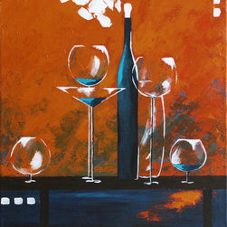 """""""Wine Party III"""" Orange Abstract Table 18 X 24 Original Painting - This is an original painting on stretched canvas 18in x 24in, signed and dated by the artist."""