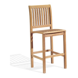 Oxford Garden - Sonoma Bar Sidechair - The Sonoma Bar Side Chair offers a sophisticated, yet casual outdoor dining experience. A curved back and ample seating area, give comfort to dining at bar height. Handcrafted of shorea hard wood using mortise and tenon joinery, this bar chair will be around for years.