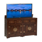 Asian Inspired TV Lift Cabinets - Ming Chest Brown TV Lift Cabinet