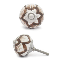 "Knobco - Ceramic Knob, White Base with Brown Design - Brown design with white base ceramic knob, perfect for your kitchen and bathroom cabinets! The knob is 1.5"" in     diameter and includes screws for installation."