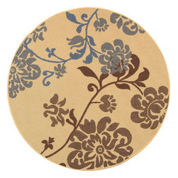"""Safavieh - Indoor/Outdoor Courtyard Round 5'3"""" Round Natural Brown - Blue Area Rug - The Courtyard area rug Collection offers an affordable assortment of Indoor/Outdoor stylings. Courtyard features a blend of natural Natural Brown - Blue color. Machine Made of Polypropylene the Courtyard Collection is an intriguing compliment to any decor."""