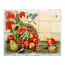Tile Art Gallery - Splash Decor - Jane Maday - Autumn Splendor - Autumn is indeed splendid and you'll love the bright colors and whimsical fantasy of this mural by Jane Maday. You can mount it magnetically in a tiled opening as your kitchen backsplash, just where you need a pick-me-up. The easy pull-and-lift motion allows you to change them out as the mood strikes.