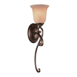 Dolan Designs Lighting - Single-Light Sconce - 2098-133 - A long, elegant scroll and glowing Mojave glass make this wall light a great choice for those seeking simple elegance. Takes (1) 100-watt incandescent A19 bulb(s). Bulb(s) sold separately. UL listed. Dry location rated.