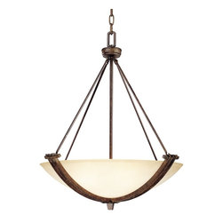 Franklin Iron Works - Franklin Iron Works Crossings Three Light Pendant - The sculptural look of this 3-light pendant is designed with bronze finish iron bands and creamy shaded glass. Pendant lamps can be used in entryways for the perfect design solution. A strong and handsome look from Franklin Iron Works that's sure to provide a wake-up call for your favorite room. This light features a deep walnut finish with a banded cream scavo glass bowl. The sleek accent bars running across the glass lend a dramatic effect.