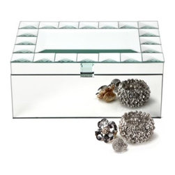 "Z Gallerie - Deco Mirror Jewelry Box - If you're looking to add a touch of old Hollywood glamour to your bedroom our gorgeous Deco Mirror Jewelry Box will do the trick. The interior and bottom are covered in flat-black velvet. Organize your earrings, rings and baubles in the removable tray.Dimensions: 11"" X 8"" X 4.75"""