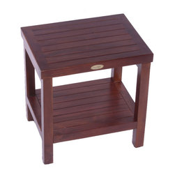 Teak Spa Shower Stool with Shelf - This teak shower stool is perfect for use in a high water environment such as a shower or wetroom. Its stylish design and high level craftsman ship also make it suitable for other rooms such as a mudroom or hallway. Built from sustainably sourced Indonesian teak wood, as long as this is treated occasionally, there is no reason it can't last a lifetime and is guaranteed for 5 years.