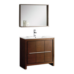 Fresca - Fresca FVN8136WG Allier 36 Inches Wenge Brown Modern Bathroom Vanity With Mirror - Fresca FVN8136WG Allier 36 Inches Wenge Brown Modern Bathroom Vanity With Mirror
