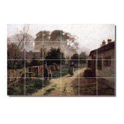 Picture-Tiles, LLC - Village Scene2 Tile Mural By Theodore Steele - * MURAL SIZE: 32x48 inch tile mural using (24) 8x8 ceramic tiles-satin finish.