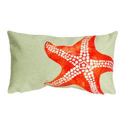 """Trans-Ocean Inc - Starfish Seafoam 12"""" x 20"""" Indoor Outdoor Pillow - The highly detailed painterly effect is achieved by Liora Mannes patented Lamontage process which combines hand crafted art with cutting edge technology. These pillows are made with 100% polyester microfiber for an extra soft hand, and a 100% Polyester Insert. Liora Manne's pillows are suitable for Indoors or Outdoors, are antimicrobial, have a removable cover with a zipper closure for easy-care, and are handwashable.; Material: 100% Polyester; Primary Color: Orange;  Secondary color: seafoam; Pattern: Starfish; Dimensions: 20 inches length x 12 inches width; Construction: Hand Made; Care Instructions: Hand wash with mild detergent. Air dry flat. Do not use a hard bristle brush."""