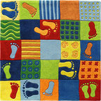 HABA Feet Area Rug - Funny footprints lead through the mixture of patterns and colors tempting children to hop and skip.