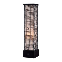 Kenroy Home - Kenroy 32249BRZ Trellis Outdoor Table Lamp - Surrounded by an artfully woven outer mesh of wire is a glowing, luminous monolith.  Trellis celebrates texture and form and is weather safe and durable.