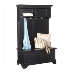 Home Styles - Home Styles Bedford Hall Tree in Black Finish - Home Styles - Hall Trees - 553149 - The Bedford Hall Tree is constructed of hardwood solids and engineered woods in a rich multi-step black finish. It features four coat hooks a bench seat and a storage compartment hidden underneath. With a crown molding top raised panel front design and a bracket base the Bedford Hall Tree offers a lasting appeal you will enjoy for many years.