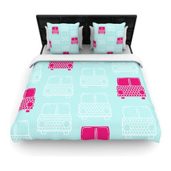 "Kess InHouse - Michelle Drew ""Beep Beep"" Magenta Aqua Fleece Duvet Cover (Queen, 88"" x 88"") - You can curate your bedroom and turn your down comforter, UP! You're about to dream and WAKE in color with this uber stylish focal point of your bedroom with this duvet cover! Crafted at the click of your mouse, this duvet cover is not only personal and inspiring but super soft. Created out of microfiber material that is delectable, our duvets are ultra comfortable and beyond soft. Get up on the right side of the bed, or the left, this duvet cover will look good from every angle."