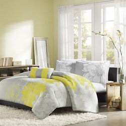 Home Essence - Home Essence Chloe 4 Piece Comforter Set - Chloe is the perfect solution to for an updated, modern print look. This comforter collection features an overscaled floral print design printed on cotton fabric for a super soft hand feel. The reverse is a soft white color that coordinates back to the grey, white and yellow from the face. Comforter & Sham: 100% cotton 200TC sateen printed on face, 180TC cross weavebacking, 270g/m2 poly fill. Pillow: 180TC cotton cross weave cover and poly filling.