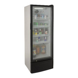 "Avanti - Commercial rated beverage cooler - Commercial rated beverage cooler, 9.8 cu.ft. capacity, frost free cooling system, four (4) adjustable/removable shelves, LED interior lighting, self closing door with integrated door handle, security lock, casters for easy movement, space saving flush back design, unit dimensions 64.5"" H x 23.5"" W x 25"" D"